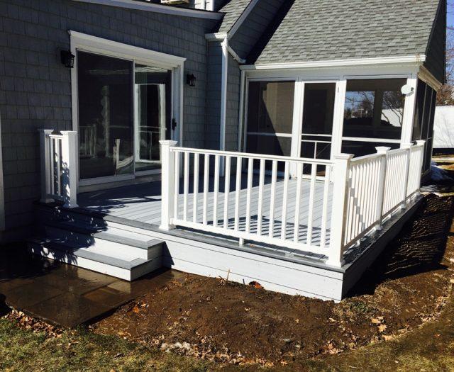 white vinyl railing installation in eastchester ny