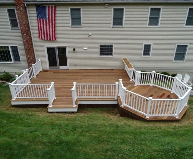white vinyl railing installation in ridgefield ct