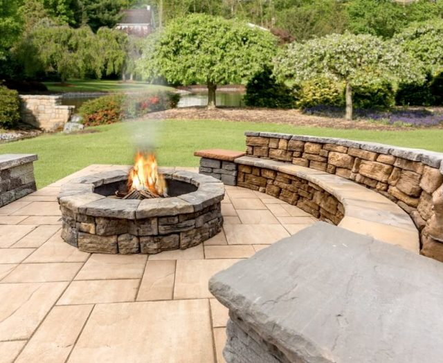 Custom Fire Pit Built into Patio with Bench Seating