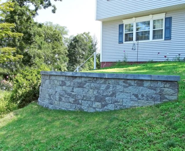 Retaining Wall Built with Paver Blocks