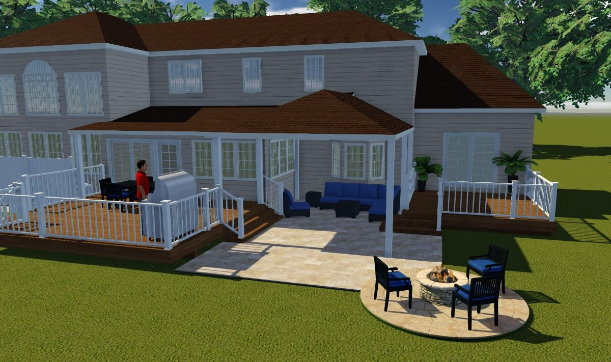 Backyard Deck and Patio 3D Rendering and Design