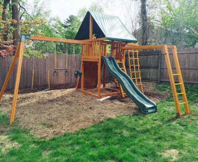 Dream Backyard Wooden Swing Set Installed with Monkey Bars