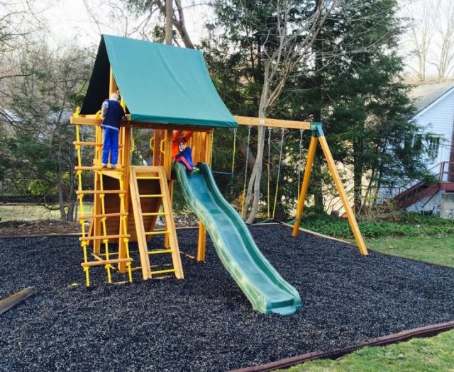 Dream Cedar Playset Installed with Mulch and Happy Children