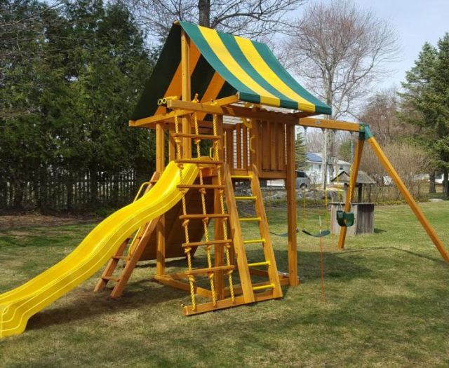 Dream Cedar Swing Set Installed with Step Ladder