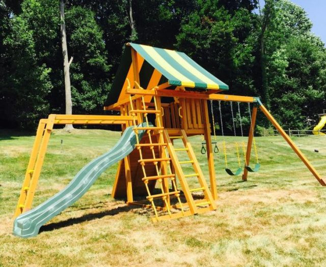 Dream Cedar Swing Set in a Backyard with Monkey Bars