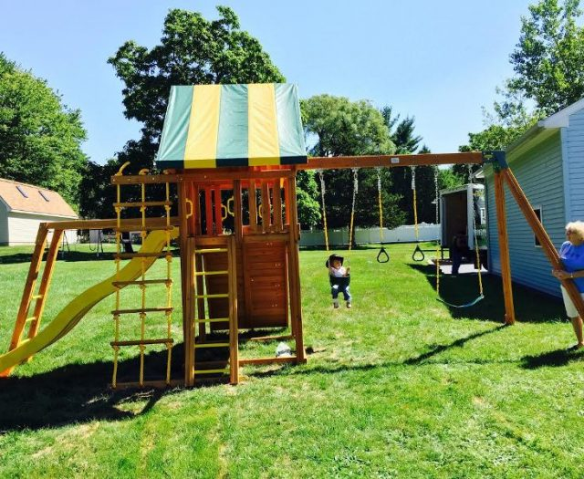 Dream Outdoor Cedar Playset with Happy Customers