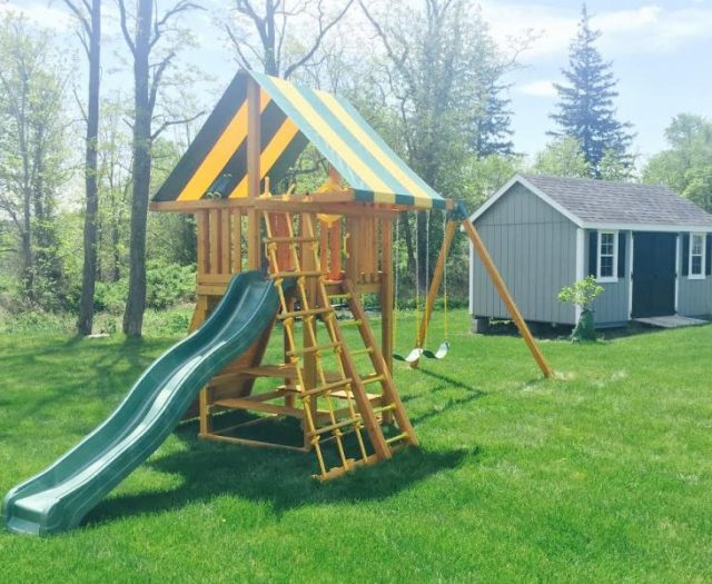 Dream Outdoor Playset Installed with Outdoor Storage Shed