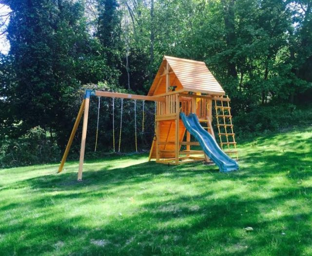 Dream Swing Set Installed on Hill