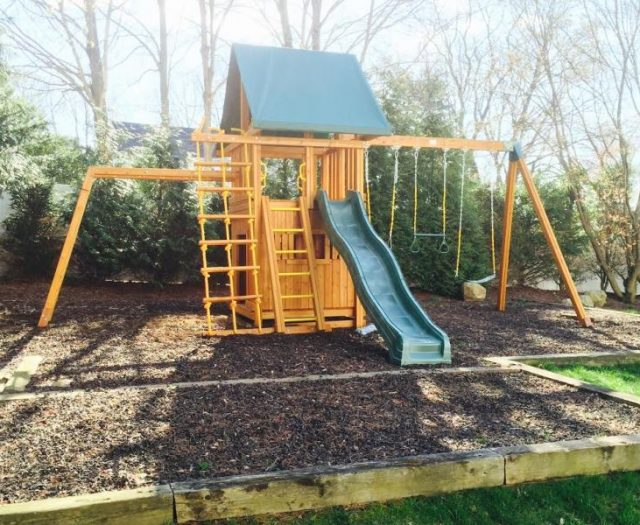 Dream Swing Set with Wood Mulch and Bottom Clubhouse