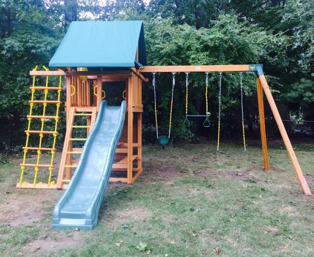 Dream Wood Jungle Gym Installed in a Backyard
