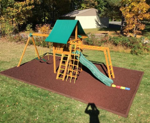 Dream Wood Playground with Rubber Mulch Installed