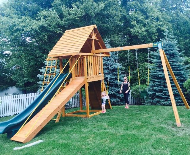 Dream Wood Playset with Mom and Child on Sling Swing Outside