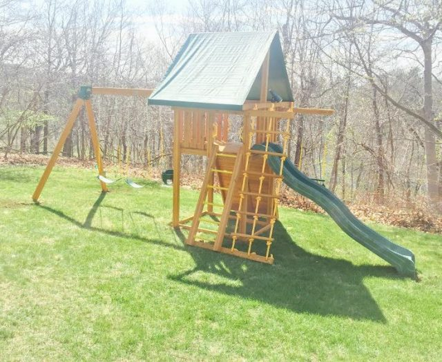 Dreamscape Playset Installed in Sloped Backyard