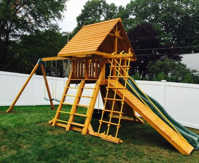 Supreme outdoor cedar playset with wood roof