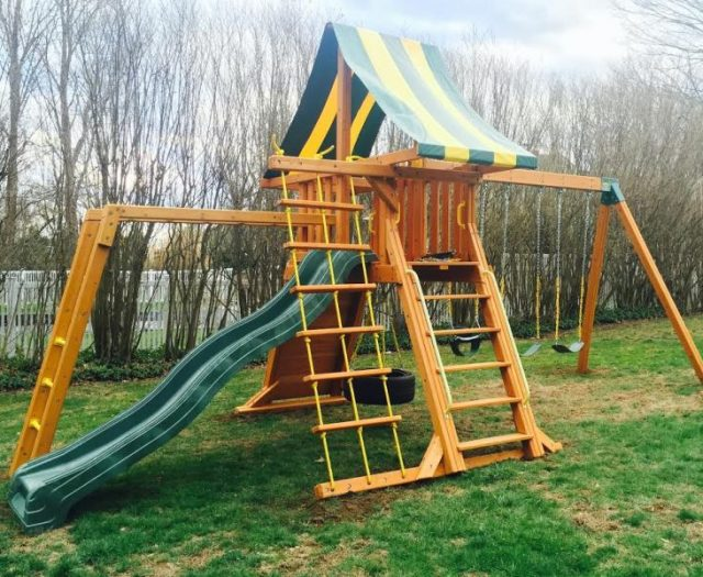 Supremescape outdoor Cedar Playset Installed with Monkey Bars