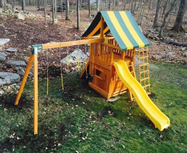 Topview of a Dream Wood Swing Set with Yellow Slide