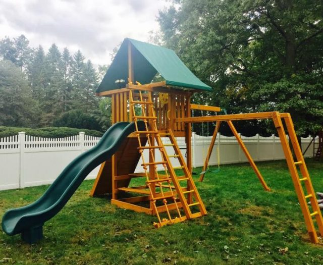 Ultimate Backyard Playset Installed with Picnic Table