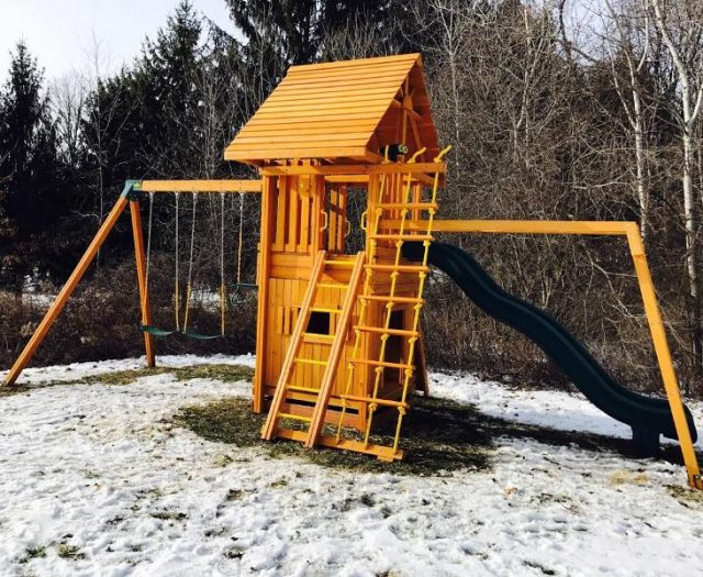 Ultimate Backyard Swing Set with Bottom Clubhouse