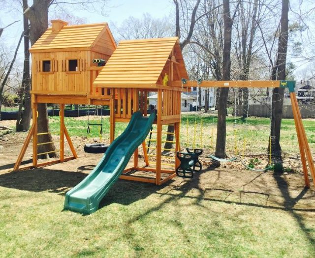 Cedar Fantasy Treehouse Playset with wood roofs and horseglider