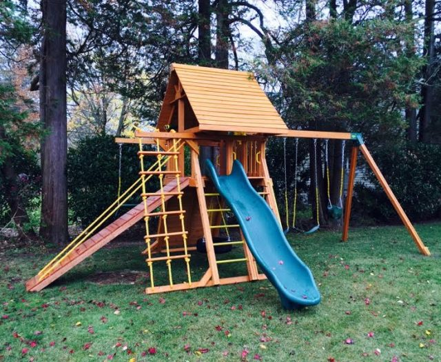 Cedar Supreme Playset With gang Plank and Wood Roof
