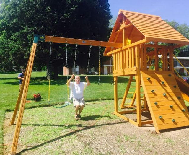 Dream Cedar Playset with Wood Roof and Customer swinging