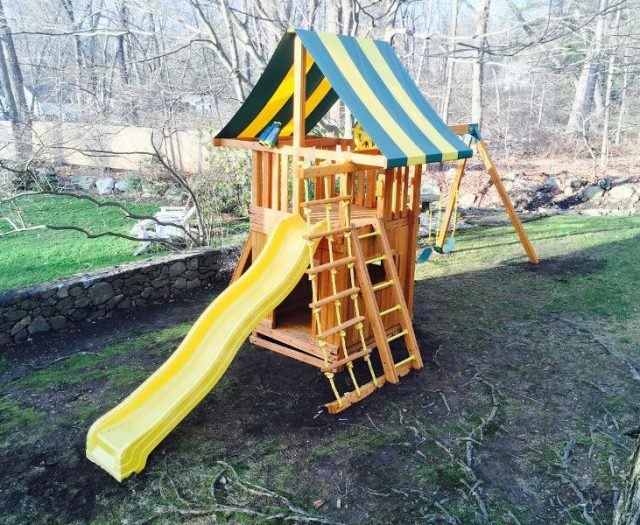 Dream Cedar Playset with bottom clubhouse and yellow slide