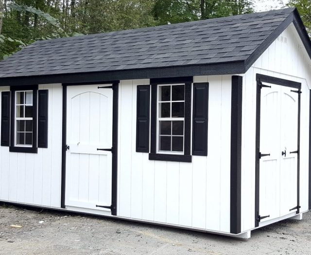 Elite A Frame Wood Shed White with Black Shutters