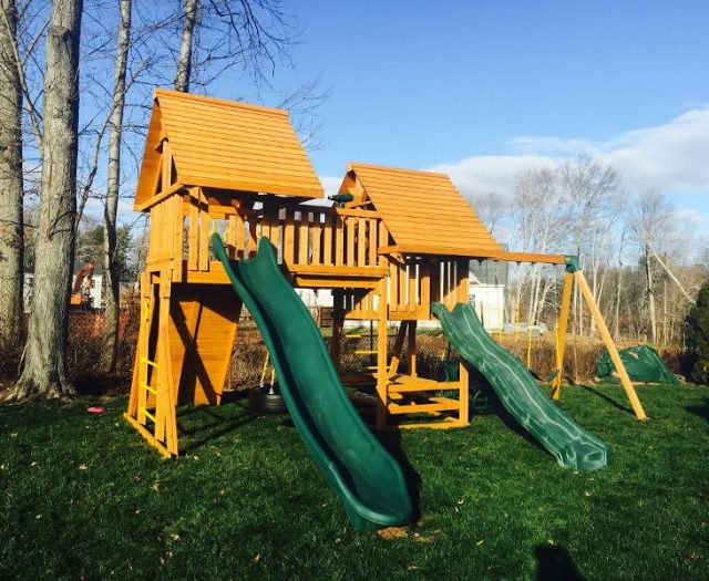 Fantasy Outdoor Playset with Cedar Wood Roofs and Green Slides