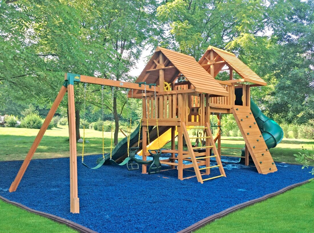 Large Fantasy Swing Set with Blue Rubber Mulch - Content Section Image