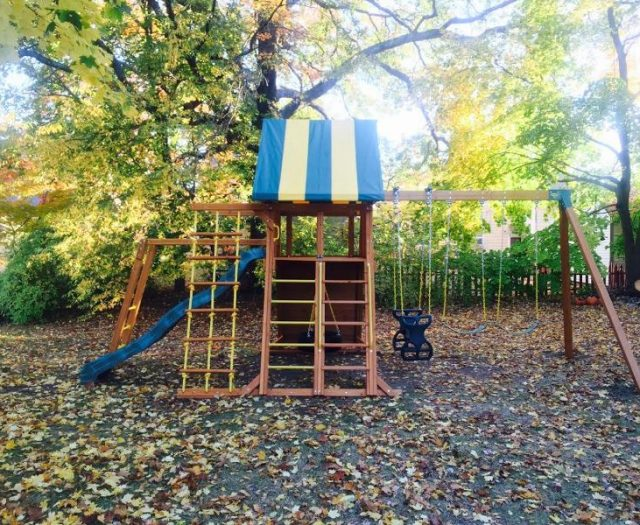 Outdoor Supreme Playground installed in backyard wiht monkey bars