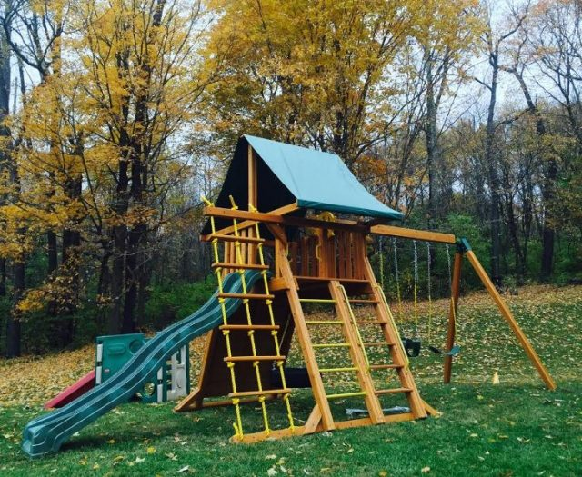 Supreme Playset Installed with Green Slide