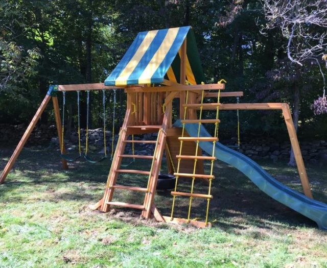 Supremescape Cedar Playset with Monkey Bars and green wave slide and extra sling swing