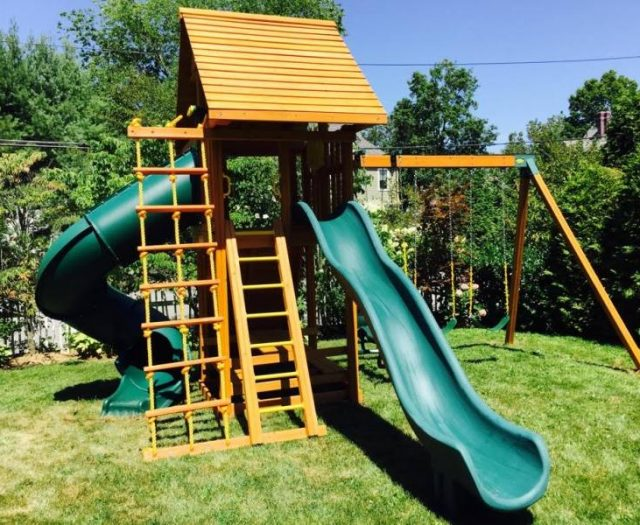 Ultimate Cedar Playset with wood roof and green slides