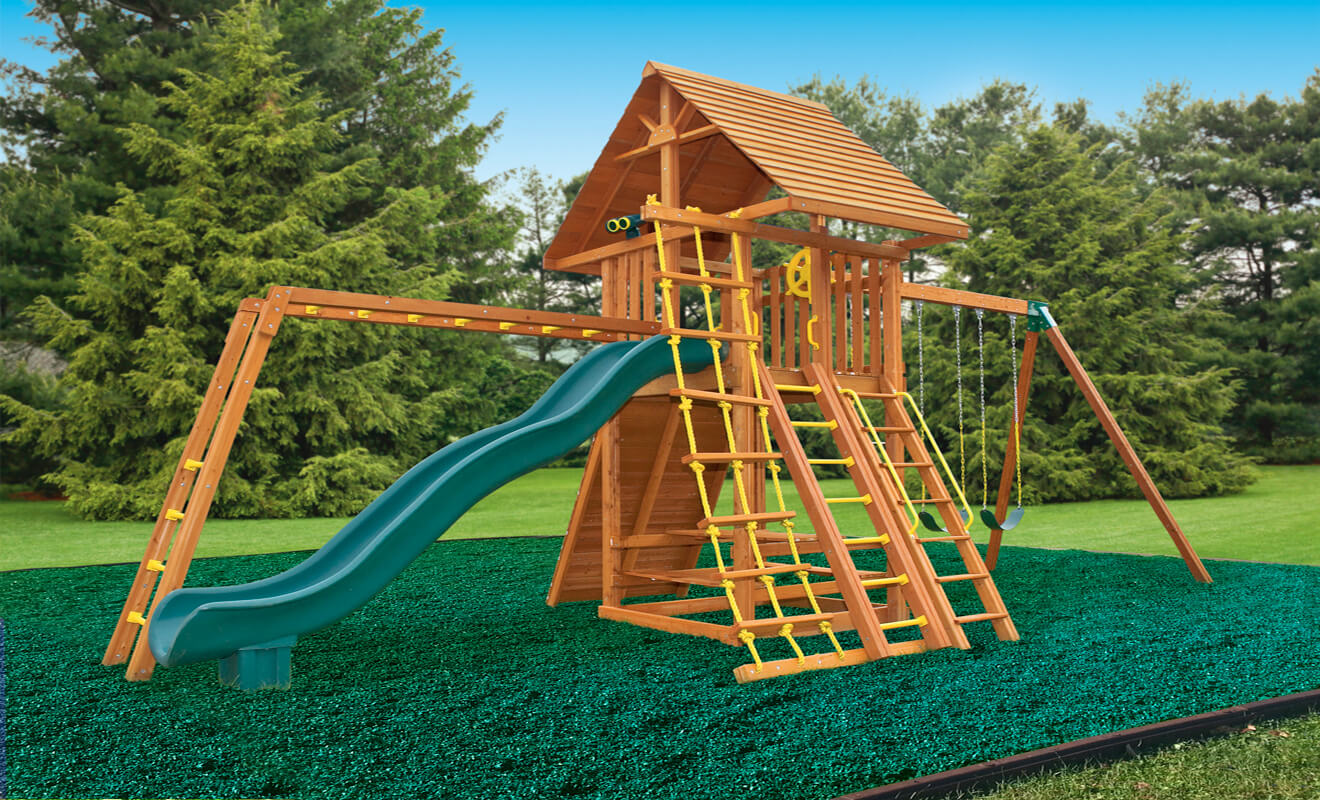 Ultimate Swing Set with Green Rubber Mulch - Thumbnail Image