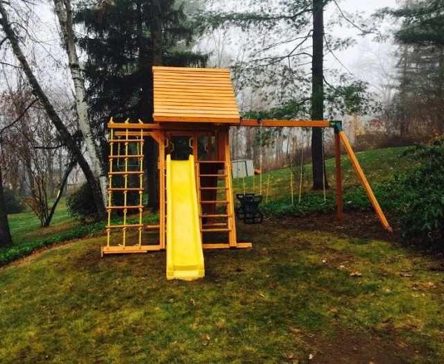 Wooden Supreme Swing Set With Wood Roof and yellow wave slide