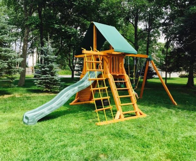 Wooden Supremescape Jungle Gym with Tent Top and Slide