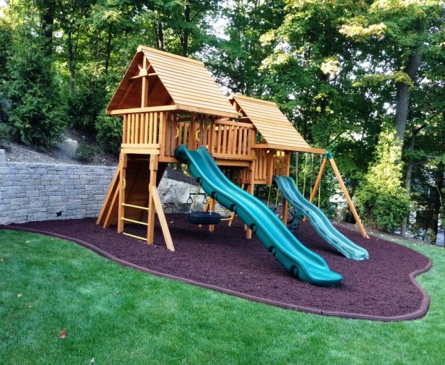 Fantasy Swing Set with Rubber Mulch Professional Install