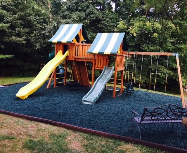 blue playground surface mulch