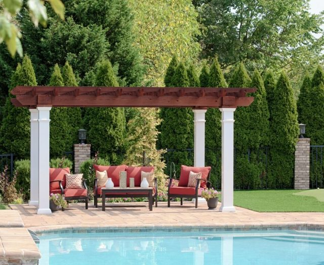 10' x 14' Artisan Cedar Pergola in Mahogany Stain with 8x8 White Vinyl Posts