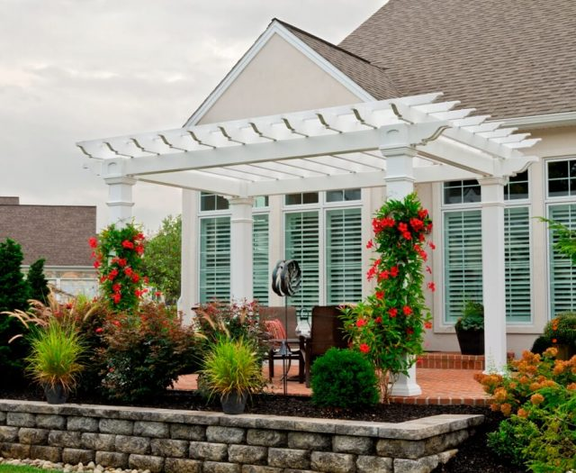 10x14 Artisan White Vinyl Pergola with 8x8 Posts on a Deck
