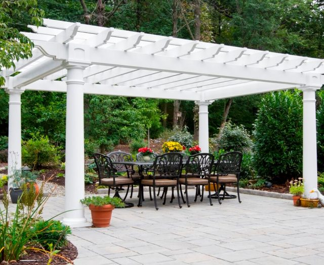12' x 16' Artisan White Vinyl Pergola with Large Round Columns Outdoor Dining Space