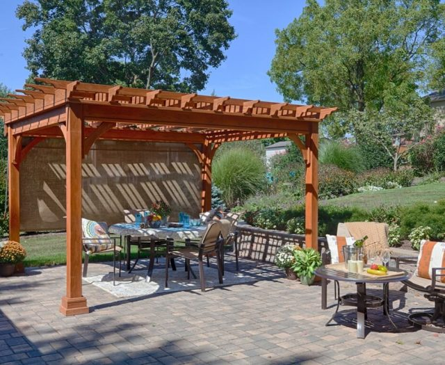 12x12 Traditional Wood Pergola in Canyon Brown Stain with EZ Shade Curtain