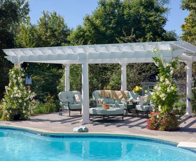 14' x 20' Artisan White Vinyl Pergola Beautiful Ourdoor Living Area by a Pool