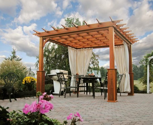 Traditional Wood Pergola 10x10 with White Curtains