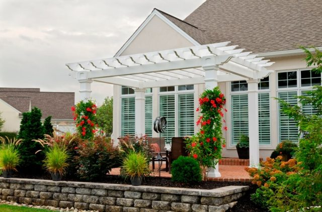 Artisan White Vinyl Pergola on a Deck