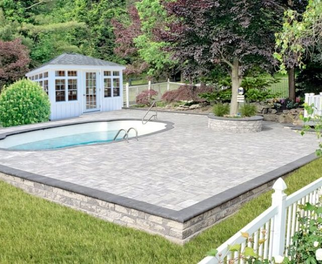 Mahopac NY Grey Stone Patio Around Pool