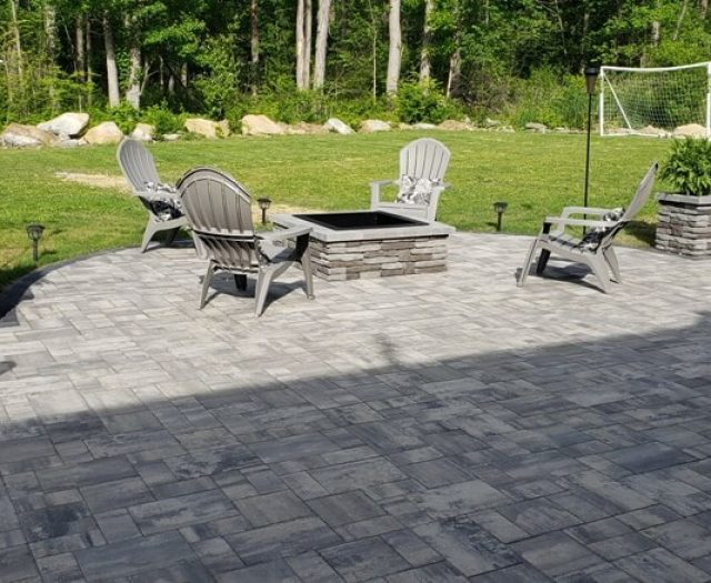 outdoor patio grey granite with outdoor firepit for summer