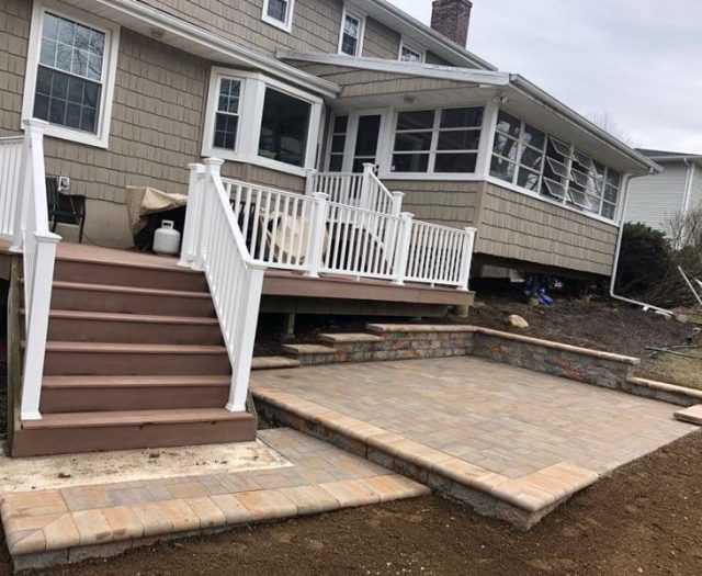new white railings to go on deck with new patio