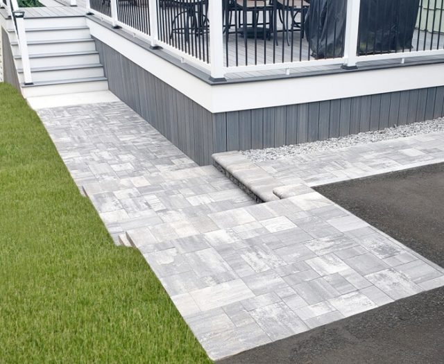 pathway in granite city grey stone leading to deck