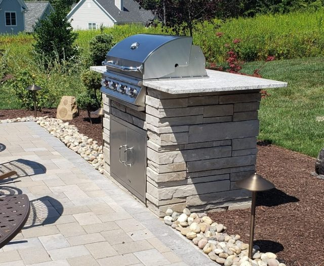 Custom Outdoor Kitchen Island with Bull Components